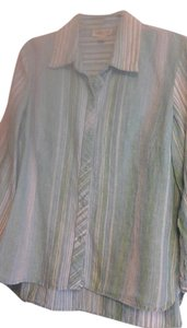Coldwater Creek Striped Casual Linen Top Multi-Strip in blue, green, and white