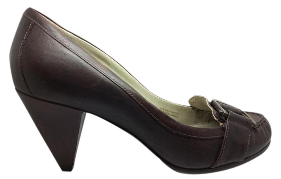 Via Spiga Brown Taupe Bronze Chunky Buckle Natural Leather Loafer Chunky Bronze Heel Comfortable Pumps ede0b8