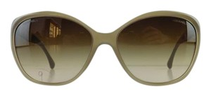 Chanel Gently Used Chanel Sunglasses 5309-B c. 1416/S5 Gray Peach Rhinestone Acetate Brown Gradient Full-Frame Made in Italy 59mm
