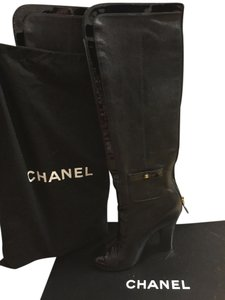 Chanel Patent Leather Leather Mixed Boots