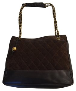 Chanel Leather Suede Quilted Shoulder Bag