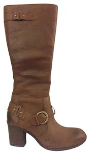 Brn Leather Buckles Side Zip Brown Boots