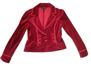 White House | Black Market Party Red Textured Deep Red Jacket