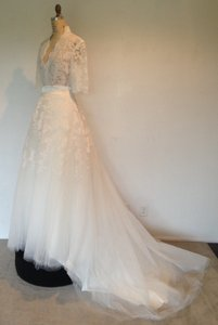 Sz 10/12 Lace Sheer Sexy 2peice Tulle Skirt Wedding Dress