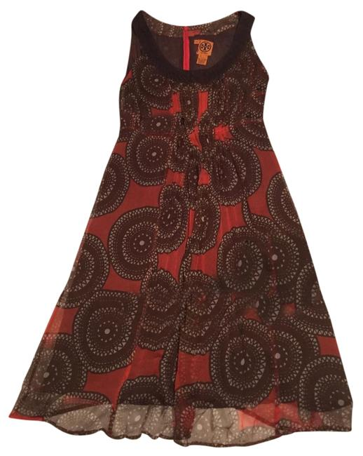 Item - Brown and Red Silk Mid-length Short Casual Dress Size 6 (S)