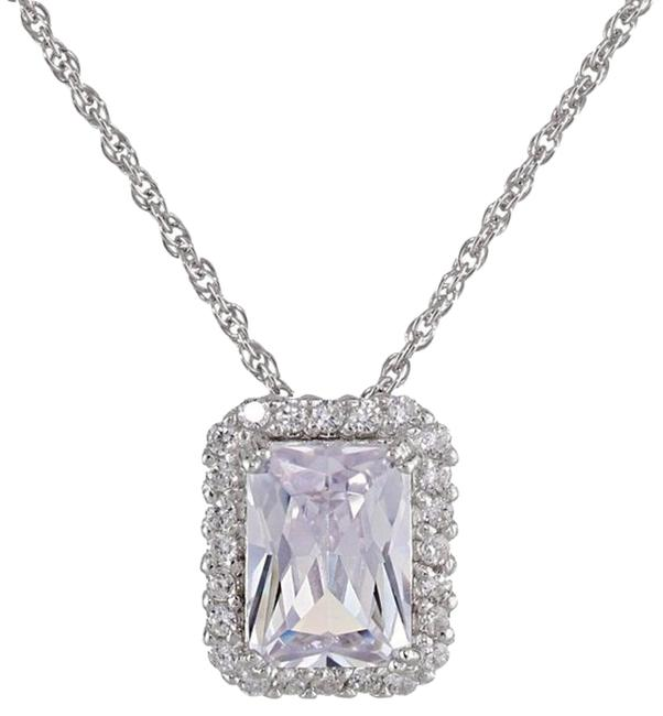"""Sterling Silver Emerald Cut Cubic Zirconia Halo Pendant Enhancer 18"""" (5 Cttw) Necklace Sterling Silver Emerald Cut Cubic Zirconia Halo Pendant Enhancer 18"""" (5 Cttw) Necklace Image 1"""