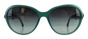 Chanel Gently Used Chanel Sunglasses 5316-Q c. 1447/S6 Green Acetate Floral Leather Gradient Full-Frame Made in Italy 56mm