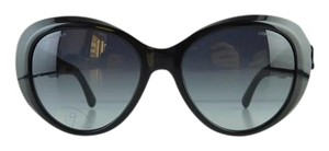 Chanel Gently Used Chanel Sunglasses 5318-Q c. 501/S8 Black Acetate Floral Leather Gradient Full-Frame Italy 55mm