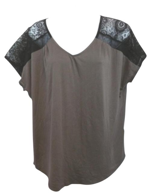 Preload https://img-static.tradesy.com/item/15852700/foursquare-black-lace-trim-dark-brown-l-blouse-size-12-l-0-1-650-650.jpg