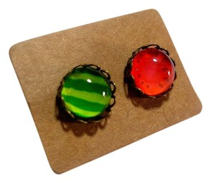 Other New Watermelon Stud Earrings Seeds & Rine Red Copper Green J2601