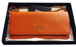 Prada NEW Prada Orange Saffiano Wallet on Chain