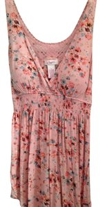Candie's Floral Floral Tank Tank Summer Spring V-neck Sleeveless Casual Top Light Pink