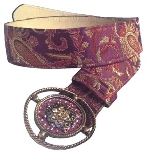 Streets Ahead Pink paisley belt with rhinestone buckle