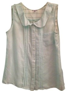 Charlotte Russe Casual Classy Elegant Button Down Peter Pan Collar Sheer Chiffon Top Light Blue