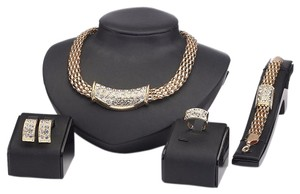 Other 18K Gold Plated Crystal Chain African Style Necklace Earrings Ring Bracelet Jewelry Set