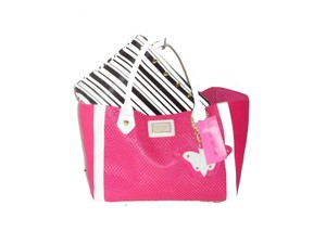 Betsey Johnson Perforated Hearts 2 In 1 Tote in fuchsia/bone/black