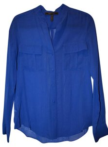 BCBGMAXAZRIA Shirt Multi Color Button Down Shirt Blue