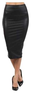 Faux Leather Stretch Skirt Black