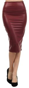 Other Faux Stretch Pencil High Waist Maroon Skirt Red