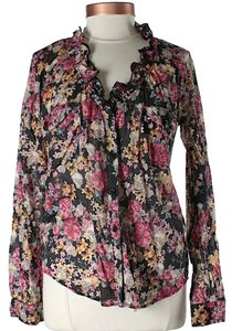 Love Moschino Floral Ruffle Button Down Shirt