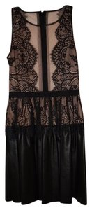 BCBGMAXAZRIA Layton Lace Leather Dress