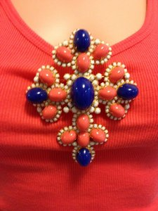 Other Coral and Cobalt blue Maltese Brooch