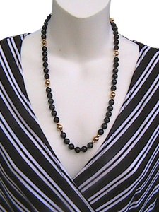 Other Vintage 14k Yellow Gold Black Onyx Bead Necklace