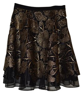 Eva Franco Anthropologie Mini Skirt Black and Gold