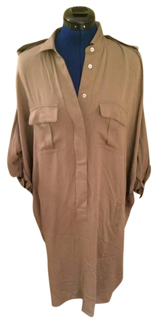Max Mara short dress Moss Designer Runway Shirt Shirt Military Green Oversized Silk on Tradesy