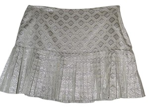 Elie Tahari Jacquard Pleated Mini Mini Skirt Silver