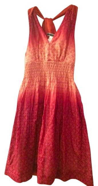 Item - Magenta/Coral Ombre Summer Above Knee Short Casual Dress Size 4 (S)