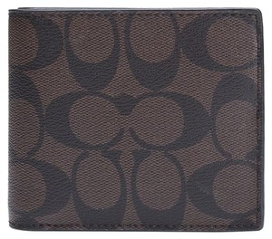 Coach COACH F74993 Men's Signature PVC Canvas Compact ID Charcoal / Brown Wallet MSRP $175