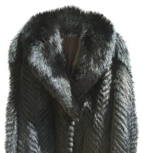 Chevron Mink Fur Coat