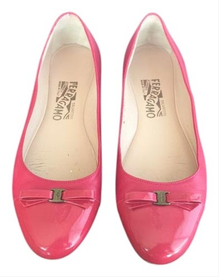 Salvatore Ferragamo Bow Toe Cap Leather Patent Leather Classic Pink, red Flats