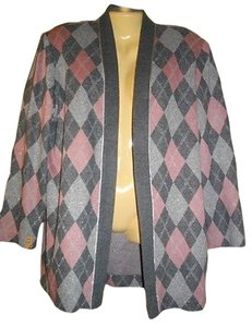 Leslie Fay Cardigan Large Vintage Open Gray Jacket
