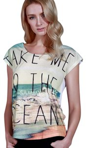 Beach Surfer Ocean Boho T Shirt Blue