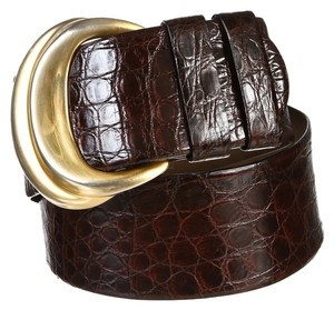 Donna Karan Donna Karan Brown Caiman Crocodile Belt (Size M)