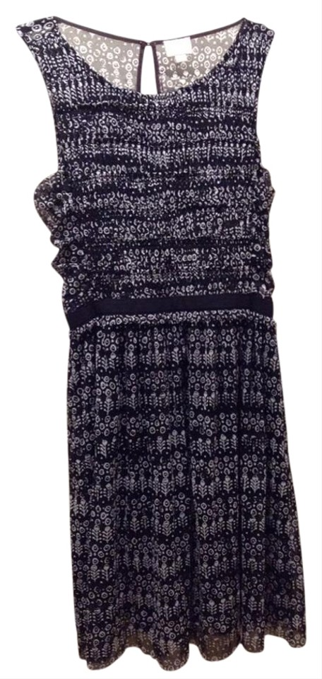 724042809199 Anthropologie Black and White Swiss Dots Knee Length Night Out Dress ...