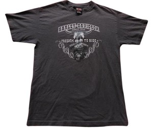 Harley Davidson Freedom Ride Frredom To Ride Shirt Medium Men's Men Nags Head 100% Cotton Cotton T Shirt Gray