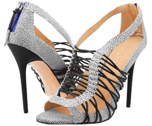 L.A.M.B. Snakeskin Sandal Leather Black/White Sandals
