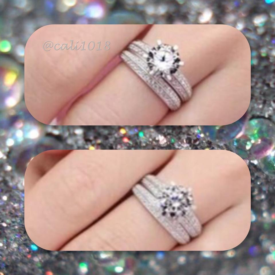 Silver New 4.0 White Topaz White Gold Filled Wedding Set 6 8 Ring ...