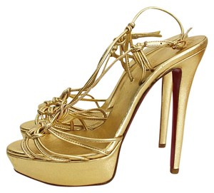 Christian Louboutin Metallic Leather Gold Platforms