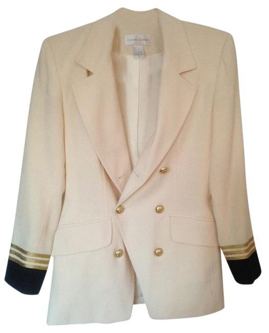 Casual Corner Wool Classy Classic Business Tailored Creme with brown/gold accent Blazer
