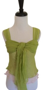 Diane von Furstenberg Sheer Layered Silk Top Sage Green over Pink