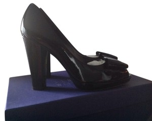 Stuart Weitzman Bowright Patent Peep Toe Black Pumps