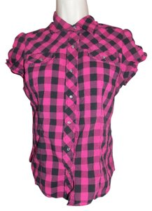 Ambiance Apparel Button Down Shirt Pink Plaid