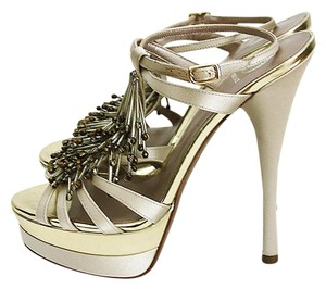 Versace Satin Strappy Ankle Strap Platforms
