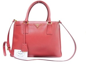 Prada Saffiano Lux Leather Satchel in red