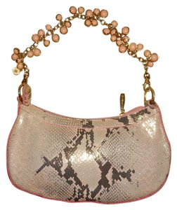 Berge Leather Straw Snakeskin Clutch Shoulder Bag