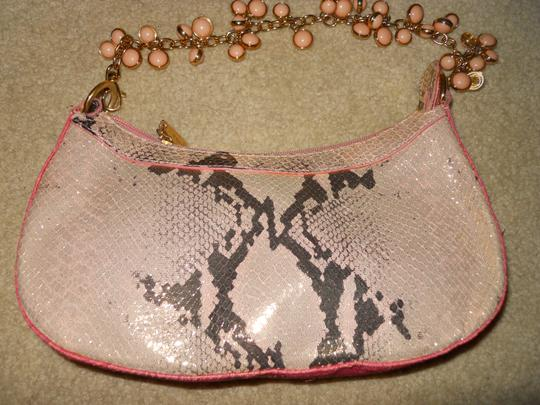 Berge Leather Straw Snakeskin Clutch Shoulder Bag Image 3